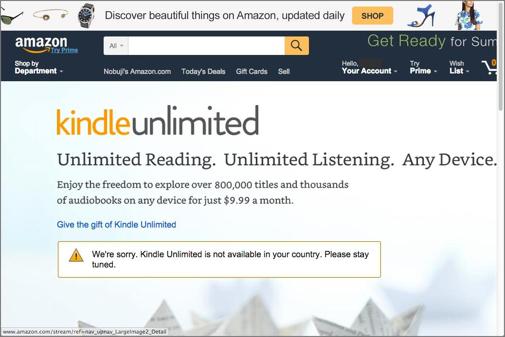Kindle Unlimited 米国Amazon