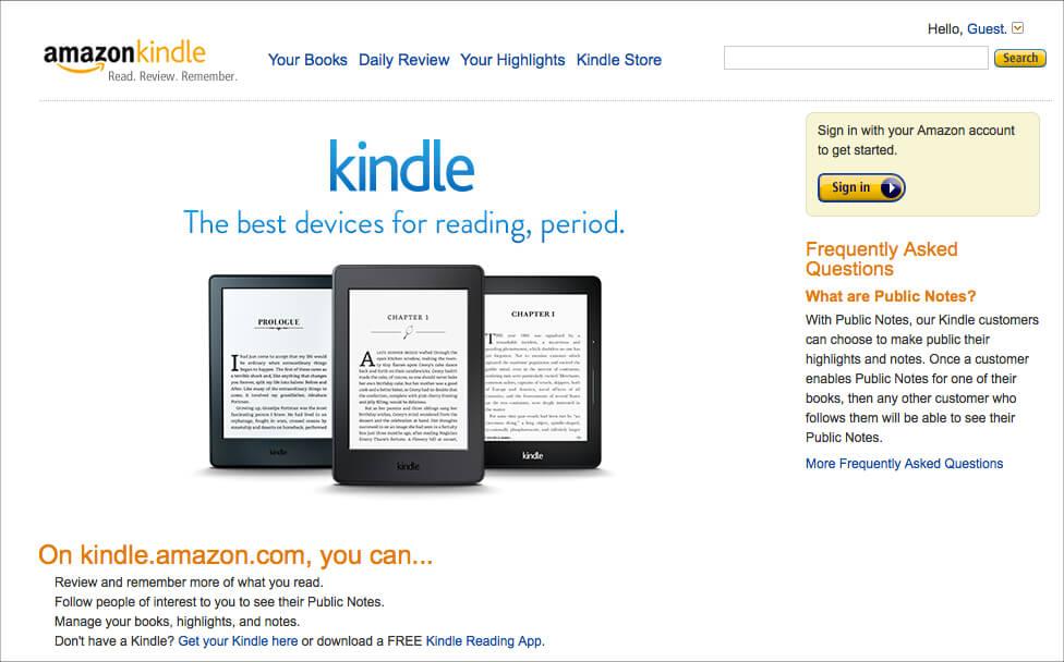AmazonのKindle用読書サイト「AmazonKindle」