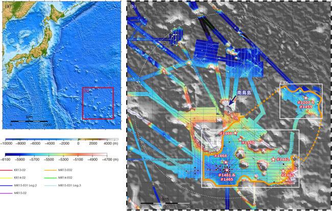 南鳥島沖のマンガンノジュールが存在する場所(国立研究開発法人海洋研究開発機構)